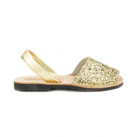 Gold glitter Menorcan leather sandals.